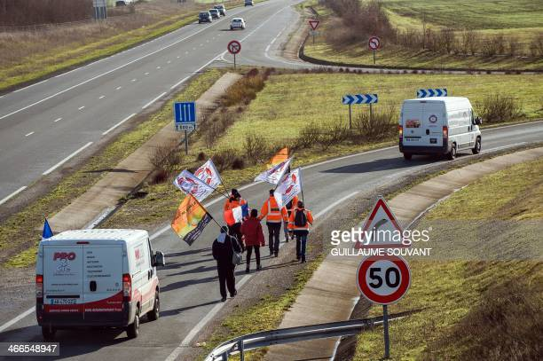 The marchers from the collective Let's save our businesses depart from Niort western France for their march bound to terminate in Paris on February 2...