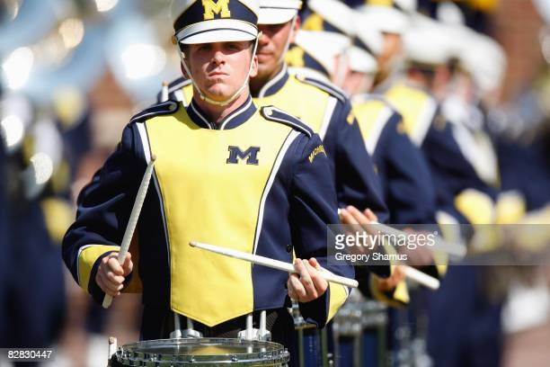 The marching band of the Michigan Wolverines play before the game against the Utah Utes on August 30, 2008 at Michigan Stadium in Ann Arbor, Michigan.