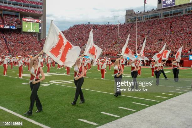 The marching band of the Nebraska Cornhuskers performs before the game against the Akron Zips at Memorial Stadium on September 1 2018 in Lincoln...