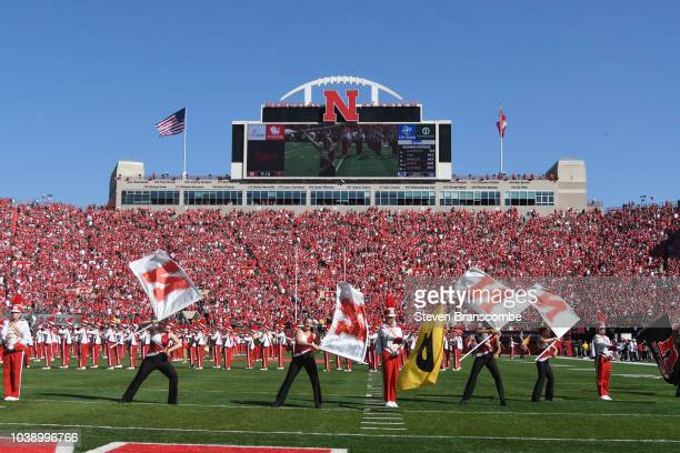 The marching band of the Nebraska Cornhuskers performs before the game against the Troy Trojans at Memorial Stadium on September 15 2018 in Lincoln...