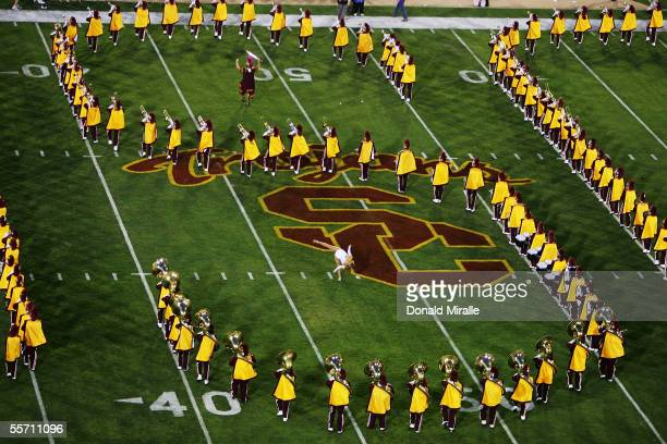 The marching band performs before the NCAA game between the USC Trojans and the Arkansas Razorbacks on September 17, 2005 at the Memorial Coliseum in...