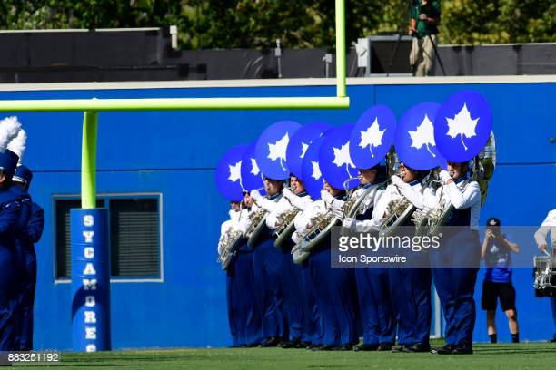 The Marching Sycamores Sousaphone line plays during pregame for the Indiana State University Sycamores versus North Dakota State University Bison...