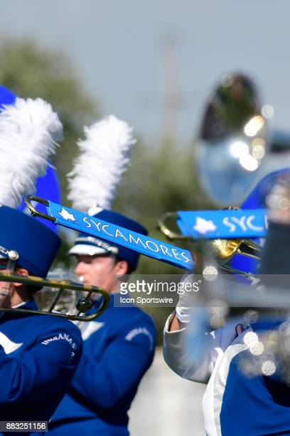 The Marching Sycamores trombones play during pregame for the Indiana State University Sycamores versus North Dakota State University Bison Missouri...