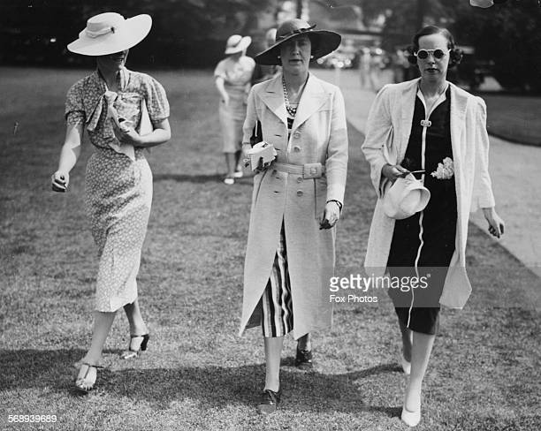 The Marchioness of Cambridge with friends Miss Baring and Brocaa Burrows attending a polo match at Hurlingham May 31st 1937