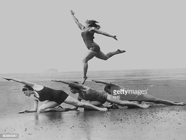 The Margaret Morris dancers rehearsing on the beach at WestonSuperMare Somerset circa 1930