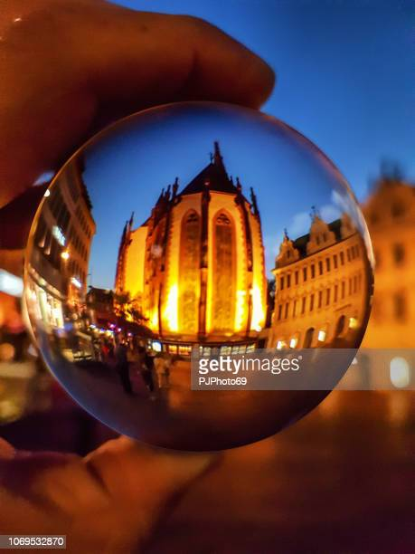 The Maria Chappel (Marienkapelle) in Wurzburg through a lensball