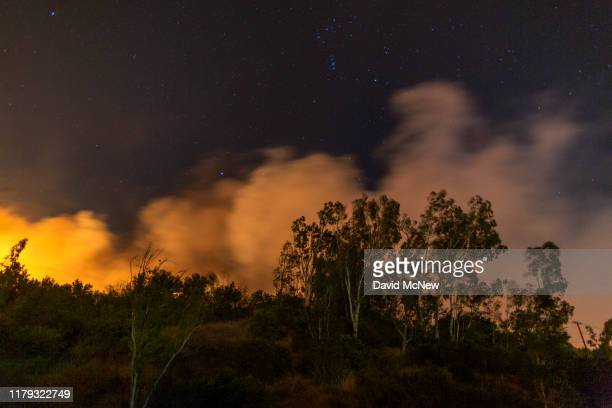 The Maria Fire burns on a hillside as it expanded to 8000 acres on its first night on November 1 2019 near Somis California Southern California has...