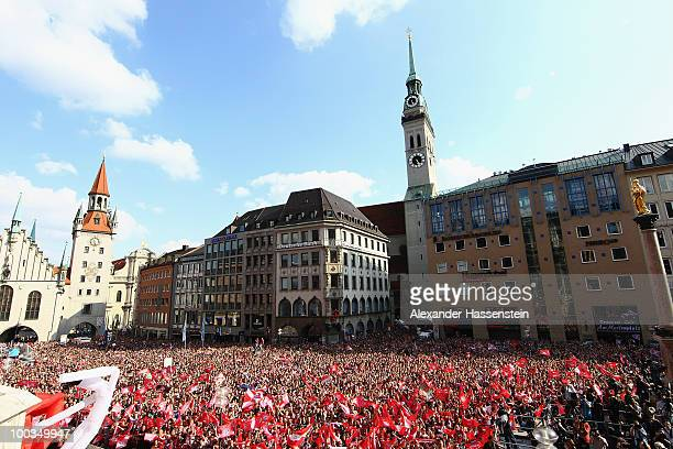 The Marien place in Munich down town is pictured during the celebration of Bayern Muenchen's two titles DFB Cup and German Bundesliga at the balcony...
