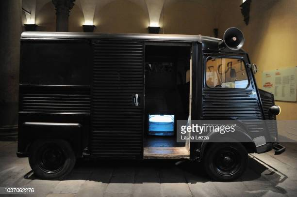 The Marina Abramovic and Ulay van is displayed during the opening of the exhibition 'Marina Abramovic The Cleaner' in Palazzo Strozzi on September 20...