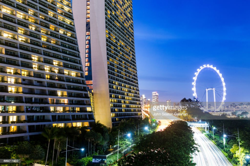 The Marina Bay Sands and the Singapore Flyer : Stock Photo
