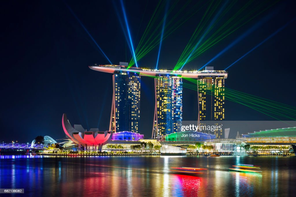 the marina bay sands light show singapore stock photo getty images