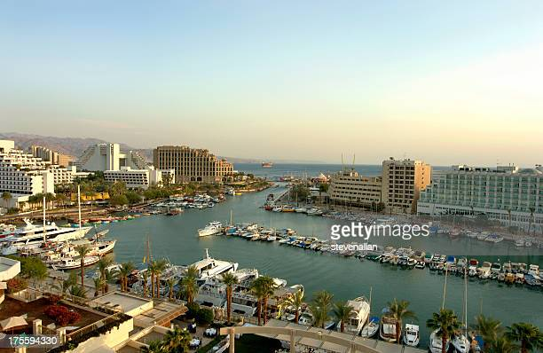 the marina of eilat israel - eilat stock pictures, royalty-free photos & images