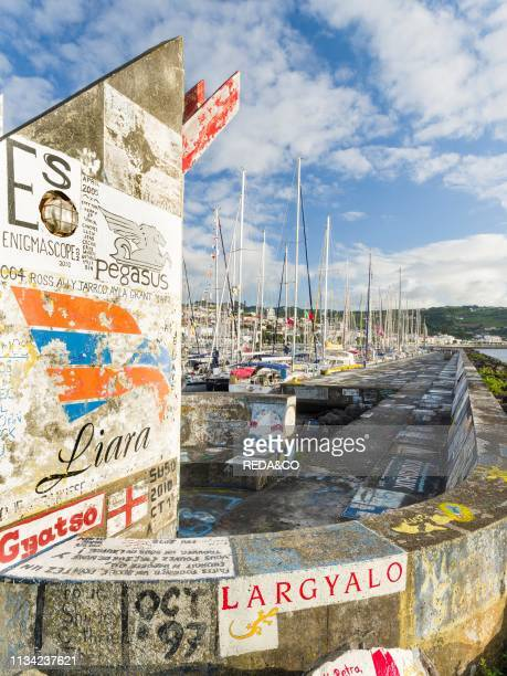 The marina with the famous drawings and paintings of sailors a landmark of Horta Horta the main town on Faial Faial Island an island in the Azores in...