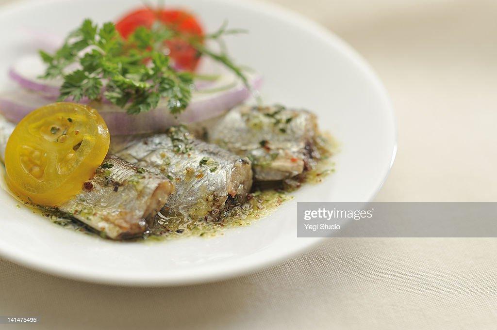 The marinade of the sardine : Bildbanksbilder