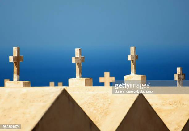 the marine cemetery of the city of bonifacio, in corsica. - corsica stock photos and pictures