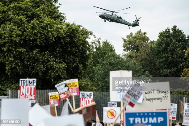 The Marine One helicopter arrives to pick up US President Donald Trump and the First Lady Melania Trump to take them to Blenheim Palace as protesters...