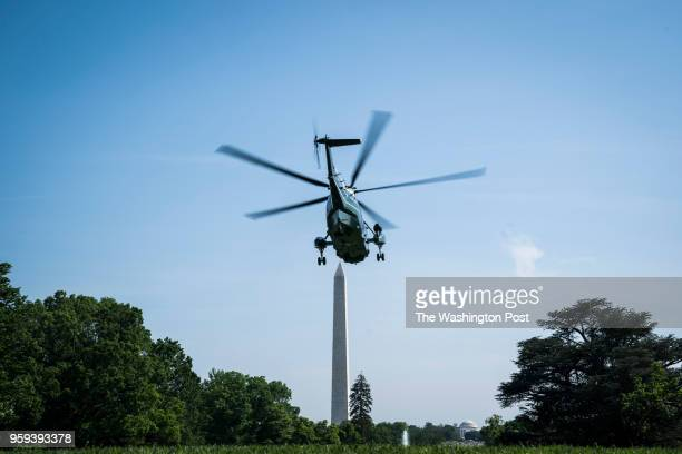 The Marine One helicopter carrying President Donald J Trump departs heading to Walter Reed National Military Medical Center as he goes to visit first...