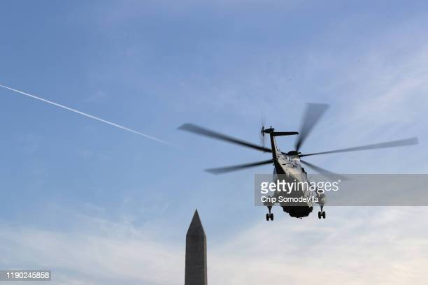 The Marine One helicopter lifts off from the White House South Lawn with US President Donald Trump and his family on board November 26 2019 in...