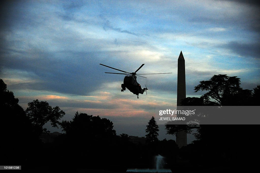 The Marine One helicopter with US President Barack onboard prepares to land on the South Lawn at the White House on May 31, 2010. Obama told Israeli Prime Minister Benjamin Netanyahu it was important to find out 'all the facts' of Monday's deadly flotilla raid as soon as possible, the White House said. The two leaders spoke by telephone Monday as Netanyahu cancelled his visit to Washington, due on Tuesday, to return to Israel to deal with the crisis after an assault by Israeli forces on a Gaza-bound flotilla left at least nine dead. AFP PHOTO/Jewel Samad