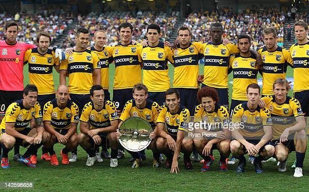 The Mariners receive the Premiers trophy before the ALeague Semi Final 2nd Leg match between the Central Coast Mariners and the Brisbane Roar at...