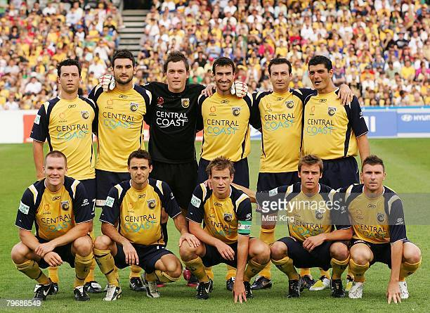 The Mariners team line up before the A-League Major Semi Final second leg match between the Central Coast Mariners and the Newcastle Jets held at...