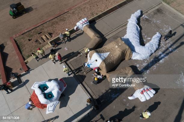 The marionette of Zozobra is pictured from above at Fort Marcy Park where it will be hung to be burned before a crowd of more than 50000 in Santa Fe...