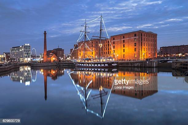 The Maritime Museum and pump house at night Albert Dock England