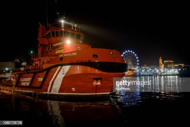 The Maritime Spanish Vessel SAR Mastelero with a total 139 SubSaharan persons on board arriving at the Malaga's harbourOn 11 November 2018 in Malaga...