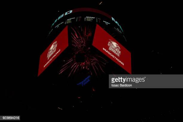 the Marjory Stoneman Douglas HS logo is seen in the arena prior to the game between the Miami Heat and Memphis Grizzlies on February 24 2018 at...