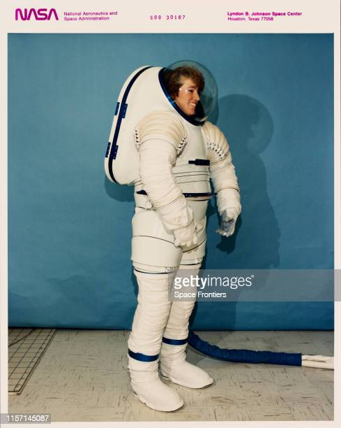 The Mark III space suit is modelled at the Johnson Space Center in Houston Texas 1988