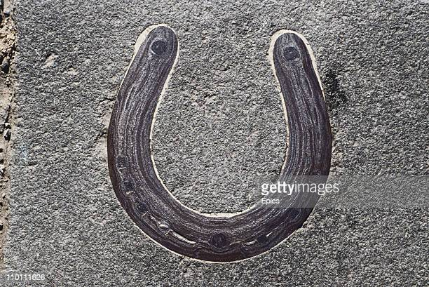 The mark of a horseshoe in Roxburgh street said to be made by the horse of Charles Edward Stuart who rode through the town in 1745 Kelso Scottish...