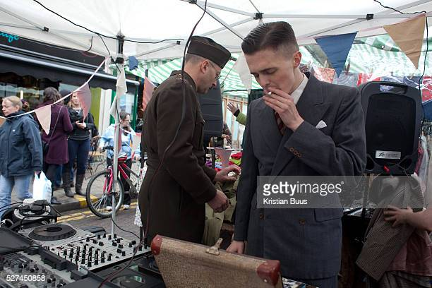The market celebrates it's anniversary and stall holders have dressed up Broadway Market in Hackney East London has become a very popular street...