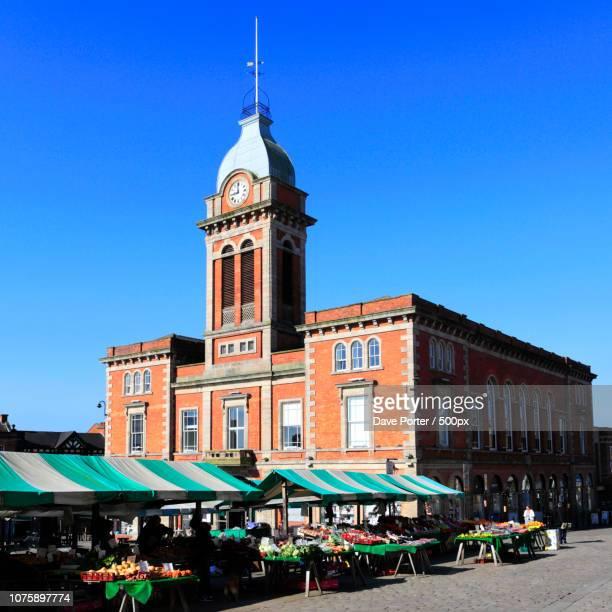 the market hall, market square, chesterfield town, derbyshire, e - chesterfield square stock-fotos und bilder