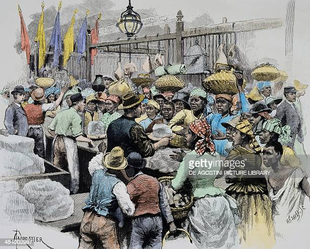 The market in Georgetown capital of Guyana Guyana 19th century