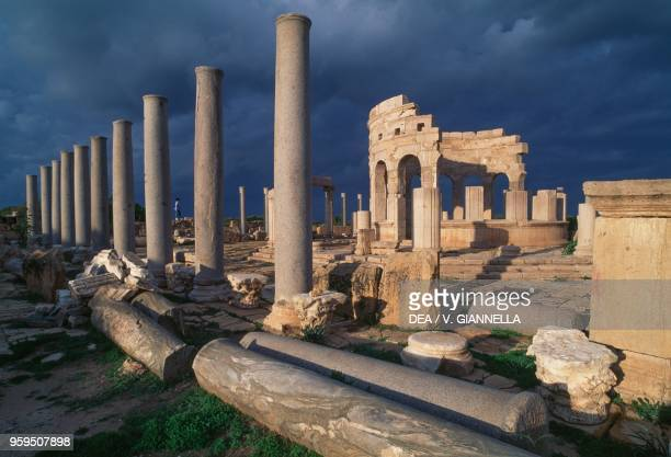 The market of Leptis Magna view at sunset Libya Roman civilization 3rd century