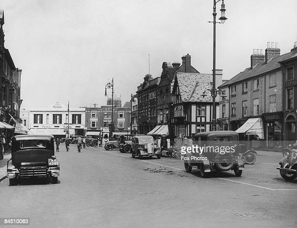 The market place in Loughborough, Leicestershire, 1935.
