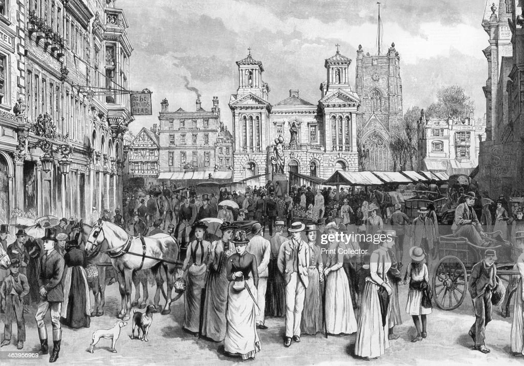 The market place, Kingston upon Thames, Surrey, 1890. : News Photo
