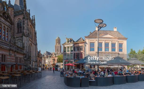 The Market Square and the belltower called Peperbus, Zwolle, Overijssel