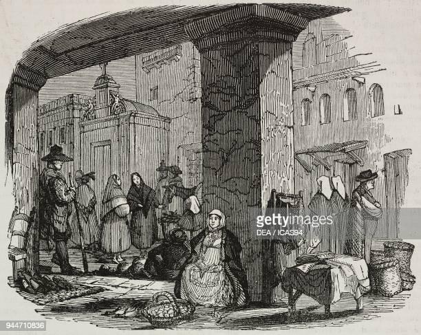 The market square in Elvas Portugal illustration from Teatro universale Raccolta enciclopedica e scenografica No 354 April 17 1841