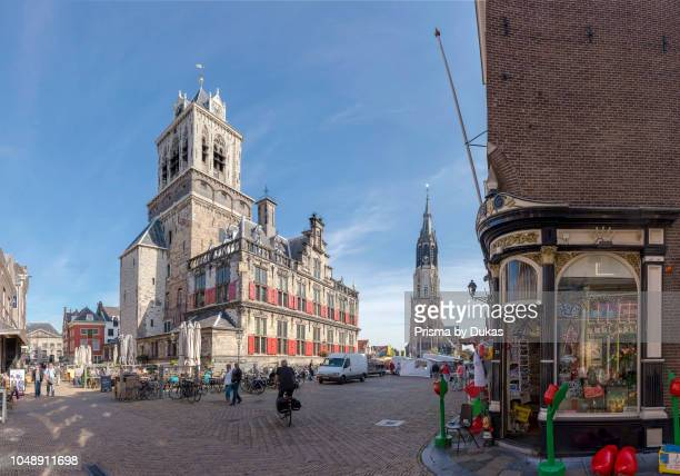 The Market square with the town hall and the New Church Delft ZuidHolland Netherlands