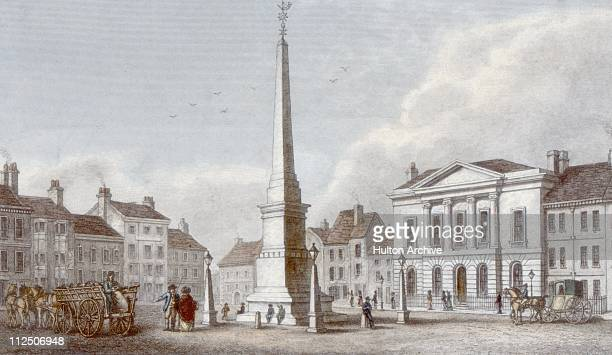 The marketplace and town hall at Ripon in North Yorkshire circa 1840 Engraved on steel by J Shury after a drawing by N Whittock