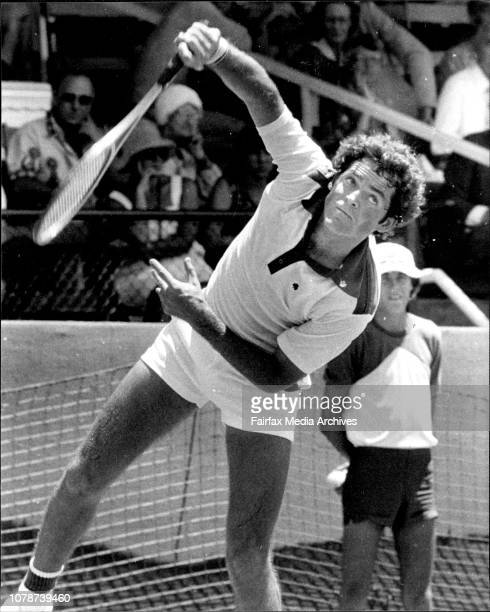 The Marlboro NSW Open tennis at White City courts in Sydney Tom Gorman from USA in action against Dick Stockton from USA December 26 1976