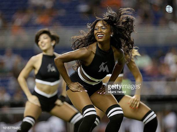 The Marlins Mermaids entertain the crowd as the Miami Marlins host the New York Mets on Sunday Aug 12 2018 at Marlins Park in Miami Fla