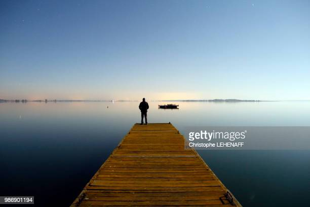 the marne. haute-marne. lake of der in winter. site of chantecoq of night. pontoon on the lake. man admiring the lake. - pontoon bridge stock pictures, royalty-free photos & images