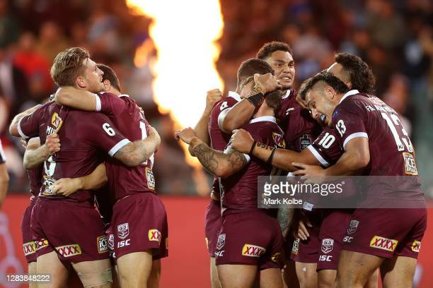 The Maroons celebrte winning game one of the 2020 State of Origin series between the Queensland Maroons and the New South Wales Blues at the Adelaide...