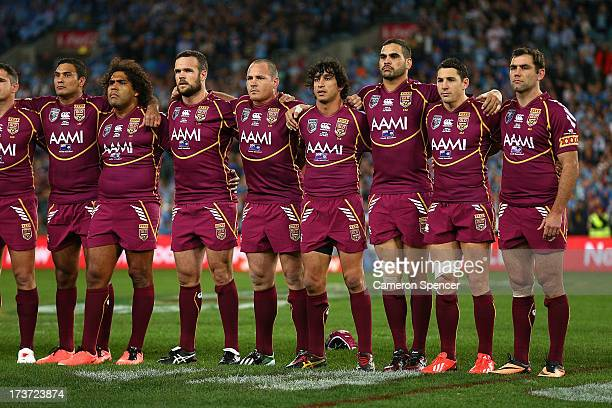 The Maroons sing the national anthem before game three of the ARL State of Origin series between the New South Wales Blues and the Queensland Maroons...