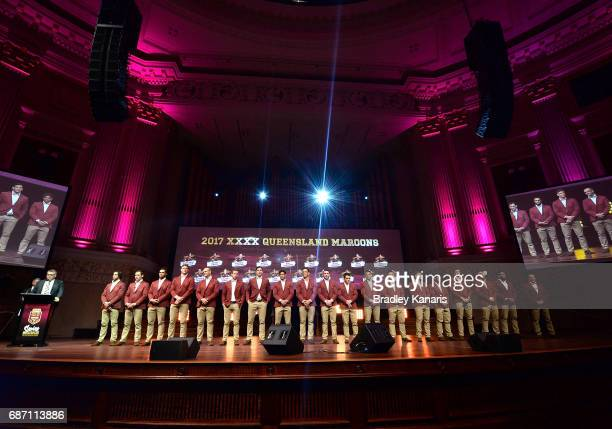 The Maroons team pose for a photo during the Queensland Maroons State of Origin official launch at the Brisbane City Town Hall on May 23 2017 in...