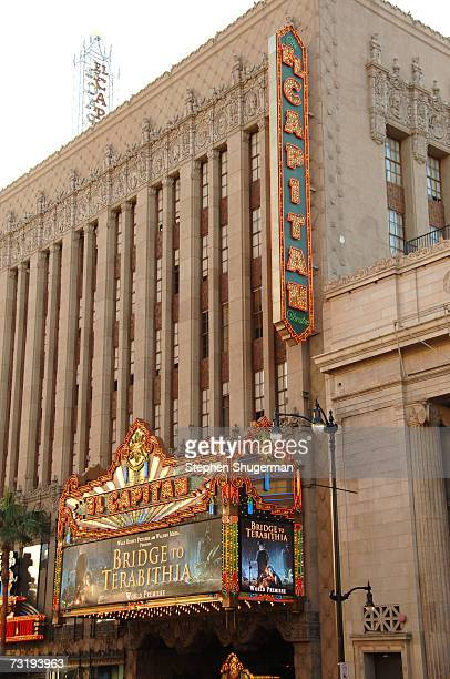 The marquee announces the premiere of Walt Disney's Bridge To Terabithia at the El Capitan Theater February 3, 2007 in Hollywood, California.