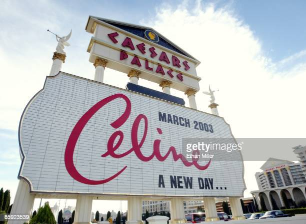 The marquee at Caesars Palace advertises Celine Dion's upcoming show November 16 2002 in Las Vegas Nevada Dion's show A New Day will be at The...