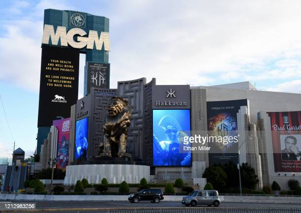 The marquee at MGM Grand Hotel Casino displays a message after the Las Vegas Strip resort was closed as the coronavirus continues to spread across...